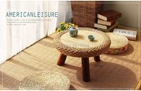 Азии японский античный круглый ротанговый стол традиционный азиатский мебель для балкона гостиная низкий пол кофе стол деревянный