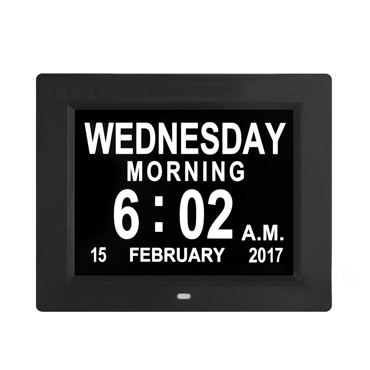 """8 """"Cal LCD zegar cyfrowy kalendarz data dzień zegar czasu Auto ściemnianie 8 języków wyświetlacz HD przypomnienie o alzheimera ue/ US wtyczka w Budziki od Dom i ogród na  Grupa 2"""