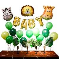 1Set Baby Animal Balloons Birthday Party Decorations Kids Zebra Giraffe Ballon Green Leaves Girl Boy Baby Shower Supplies Globos