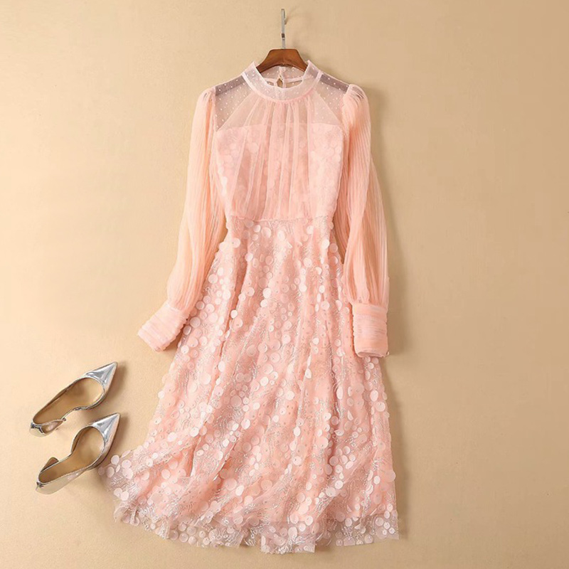 bling paillettes see through white pink mesh dress stand collar long sleeve a line embroidery dress