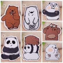 Fine Cartoon Panda Friends Patches Iron On Stickers Kawaii Chubby Bear Appliques DIY Embroidered Decor Clothes Badges