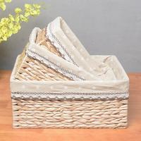 Storage Basket Rattan Straw Cotton and Linen Lace Fabric Garden Style Desktop Snacks Toy Storage Clothing Wicker Storage Box