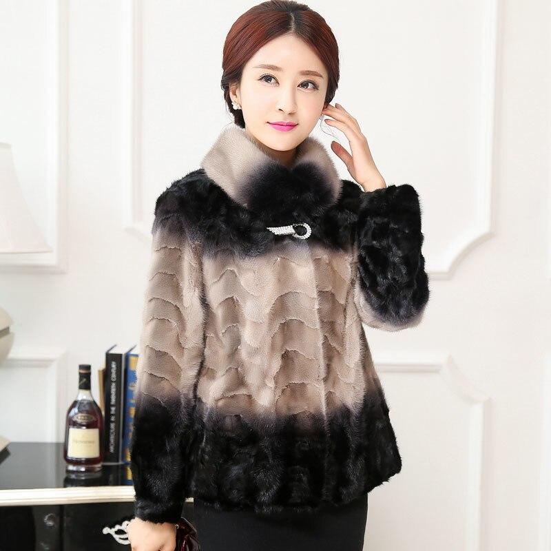 Ptslan 2018 Réel De fourrure de Vison manteau femmes Hiver chaud épais Naturel de fourrure outwear Véritable En Cuir Bonne Qualité P4747