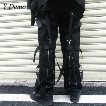 Streetwear Rock Loose Cargo Pants Women Zipper Ribbons Elastic Waist Hip Hop Dancing Pants - DISCOUNT ITEM  40% OFF All Category