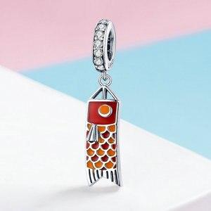 Image 5 - MOWIMO Japan Red Koinobori Charm Bead Fit Original Silver Bracelets Bangles Pendant 925 Sterling Silver Jewelry Making BKC1085