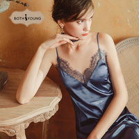 Bothyoung Satin Silk Nightdress Lingerie Sleepwear Women V Neck Lace Nightwear Nightgrown