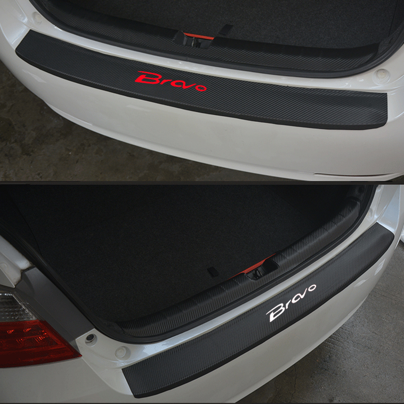 PU Leather Carbon Fiber Styling After Guard Rear Bumper Trunk Guard Plate Car Accessories For Fiat Bravo