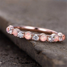Silver 925 Jewelry Ring Rose gold jewelry stainless steel Plated Opal Zircon Diamond Costume ringsB2272