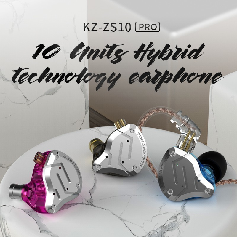<font><b>Kz</b></font> <font><b>Zs10</b></font> Pro Aptx Hd Bluetooth <font><b>Cable</b></font> In Ear Earphones Hybrid 4Ba+1DD Hifi Bass Earbuds Metal Headphone Sport For Iphone image