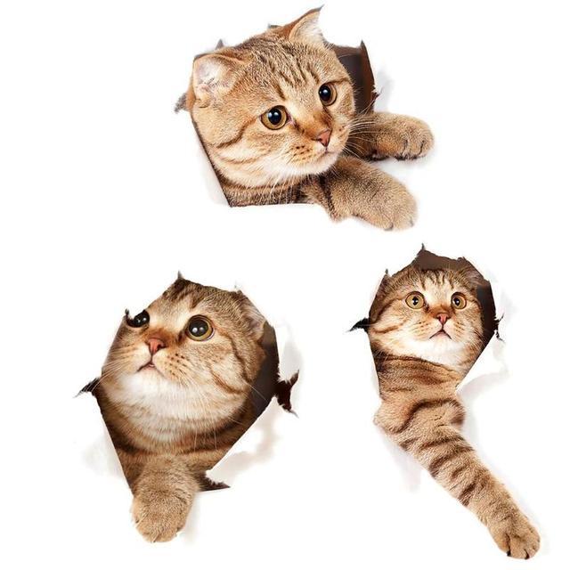 New 3D Cats Fridge Toilet Wall Sticker Bathroom Hotel Restaurant Home Decoration Animal Vinyl Decals Art Sticker Poster Ornament