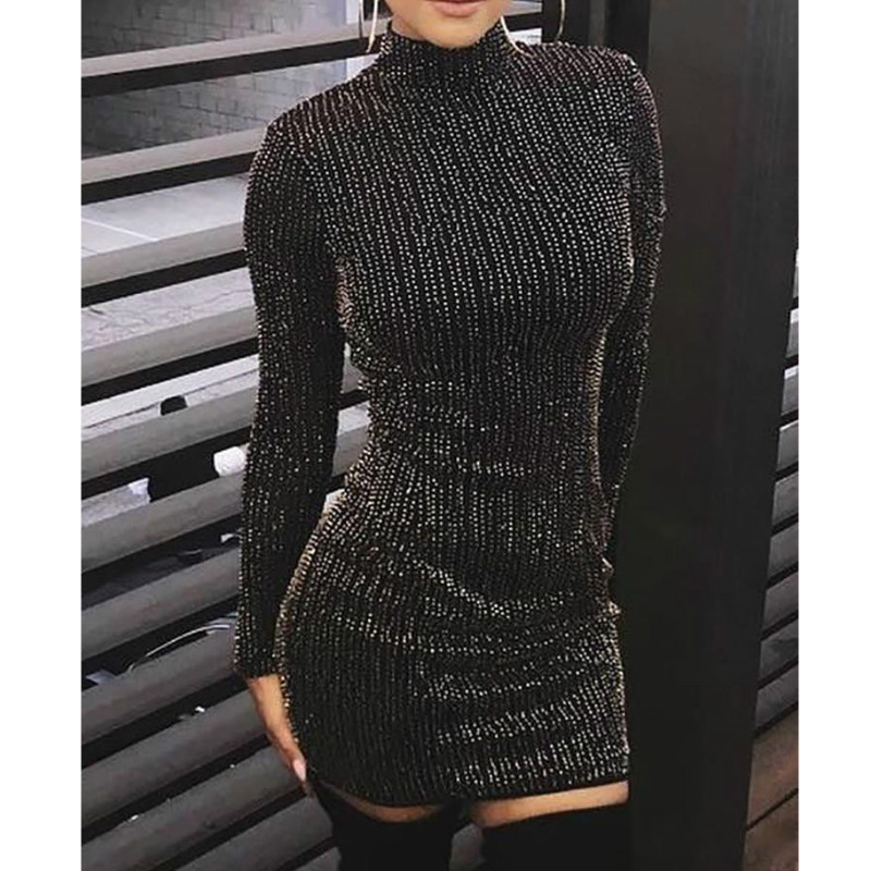Women Autumn Knitted Dresses Slim Sequined Turtleneck Long Sleeve Sexy Lady Bodycon Dresses Vestidos