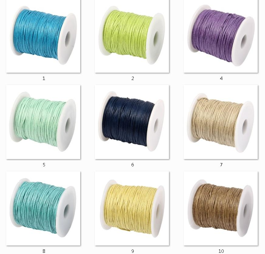 Waxed Cotton Cord 1MM Waxed Thread Cord String Strap 100Yards/Spool Necklace Rope DIY Jewelry Making For European Bead Bracelet