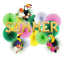 Tropical Party Decorations Hawaiian Summer Decoration Set  Palm Leaves Toucan Pattern Happy Birthday Luau Beach Party Backdrop