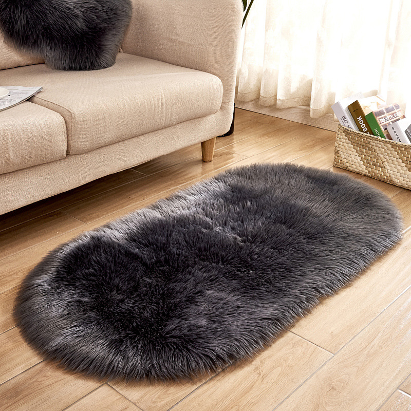OHEART Faux Fur Rugs Oval Artificial Wool Carpet Soft