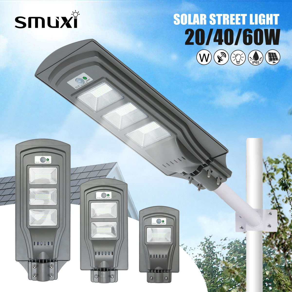 20W 40W 60W Solar Street Lights 40/80/120Led 2835 Radar Motion Activated Sensor Wall Street Light for Outdoor20W 40W 60W Solar Street Lights 40/80/120Led 2835 Radar Motion Activated Sensor Wall Street Light for Outdoor
