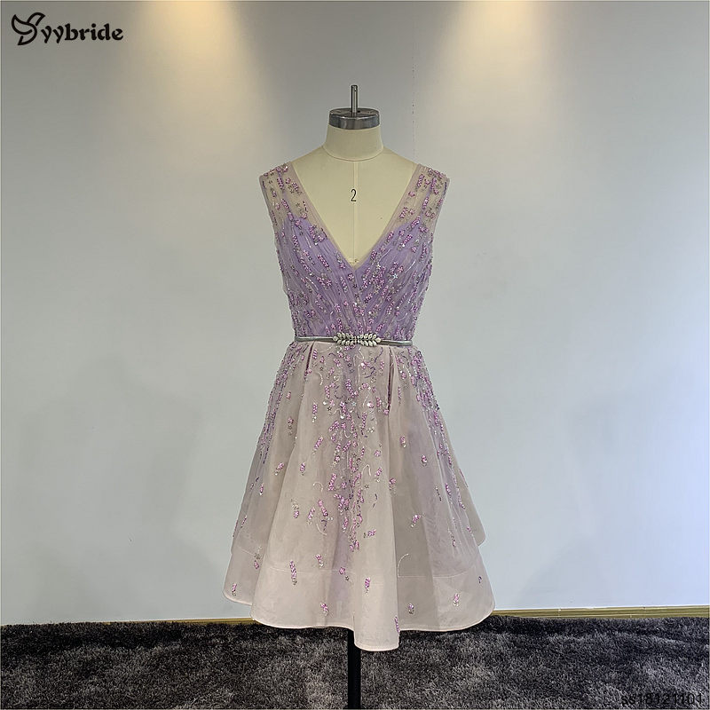 YYbride 100% real sample Beautiful Prom   Dresses   Cheap Price Stock Sample Special Offer Beading V-neck Mini   Cocktail     Dresses