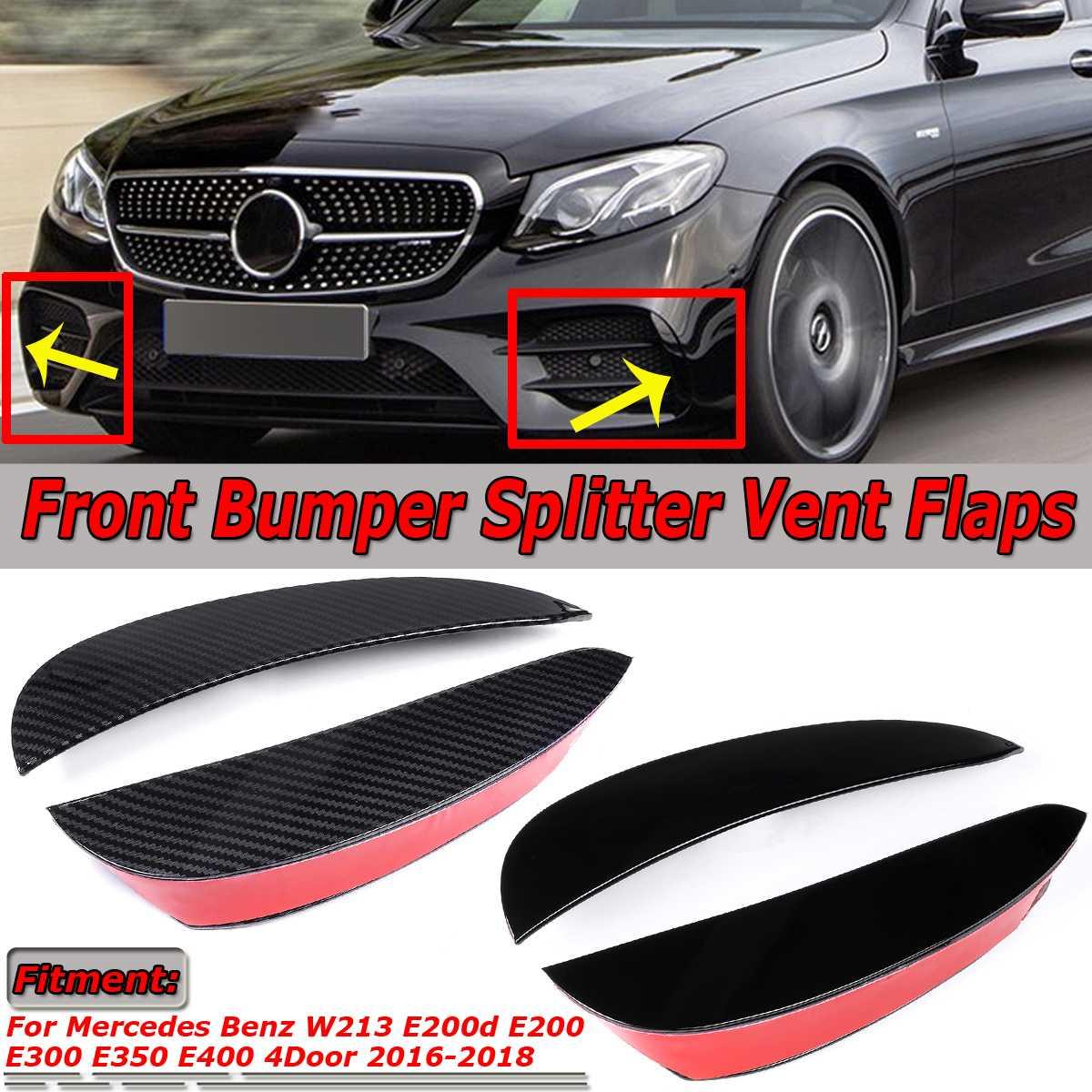 2x Auto Voorbumper Lip Splitter Vent Flappen Spolier Fin Voor Mercedes Benz E Klasse W213 E200 E300 E350 4Dr Voor Amg 2016-2018