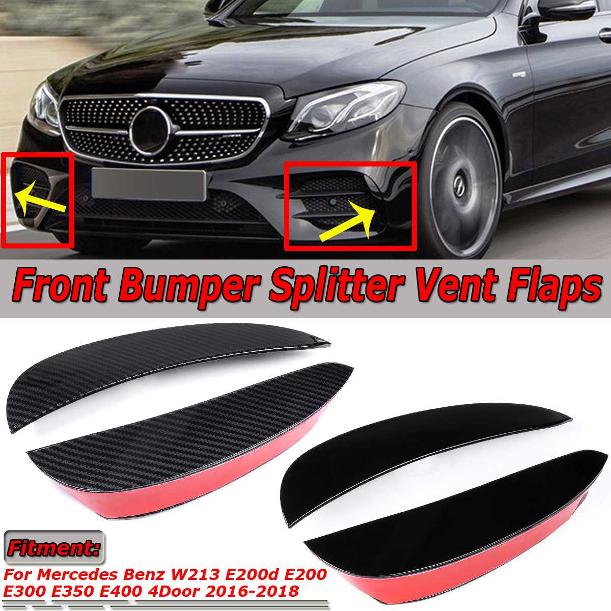 2x Car Front Bumper Lip Splitter Vent Flaps Spolier Fin For Mercedes For Benz E Class W213 E200 E300 E350 4Dr For AMG 2016-2018