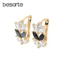 Женские золотые серьги кольца с черным листом boucles d'oreilles