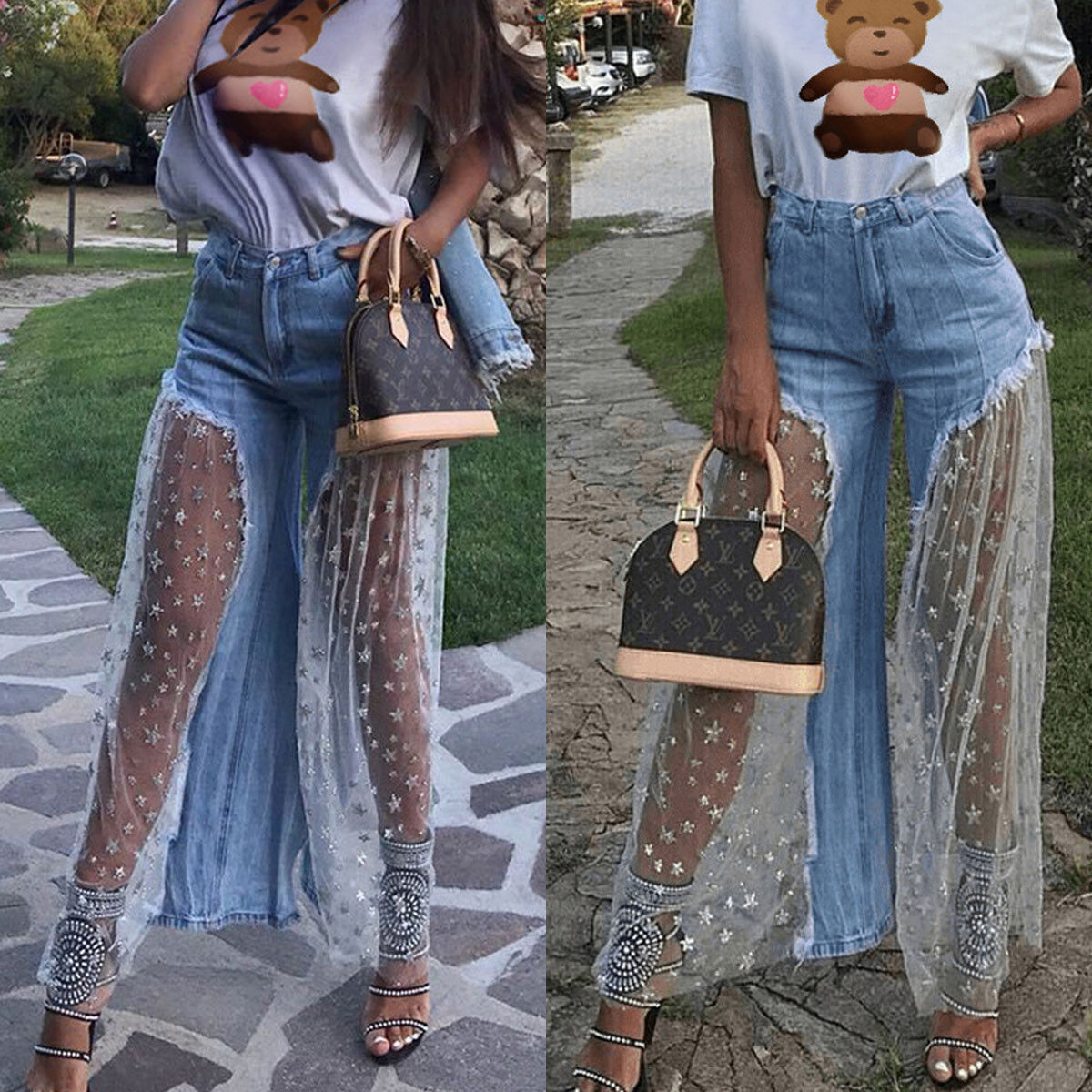 New Women Fashion Charm Casual Destroyed Split Joint Lace Tulle Fit High Waist Pants Trousers