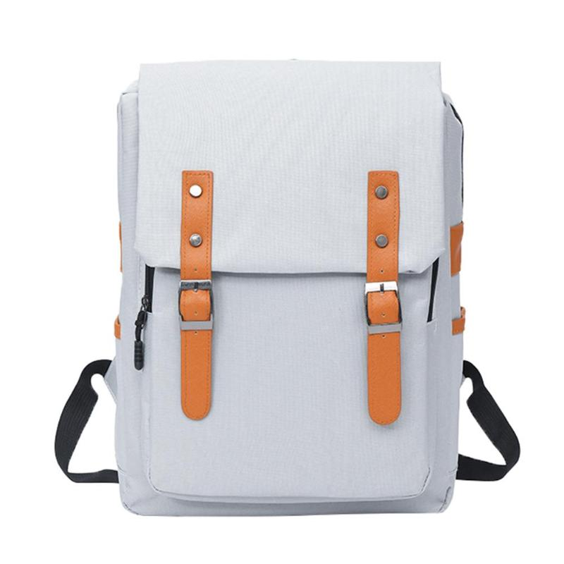 Vintage Women Nylon Backpack School Bag Preppy Girls Shoulder Bags Solid Chain Design Travel Backpack For Teenage 2019 New image
