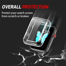 цена на Silicone Soft Full Case For Apple Watch Band 44mm 40mm 42mm/38mm Iwatch Series 4 3 2 1 All-around Ultra-thin Clear Frame