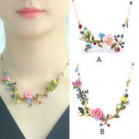 Free shipping Fashion enamel flower necklace