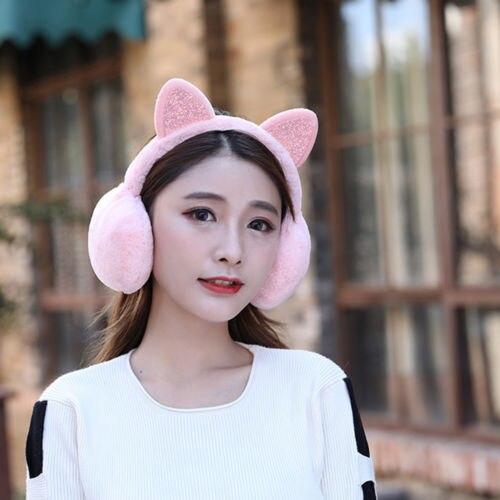 374a35b8e9f61 2019 Winter Earmuffs Women Fur Winter Ear Warmer Earmuffs Cat Ear Muffs  Earlap Glitter Sequin