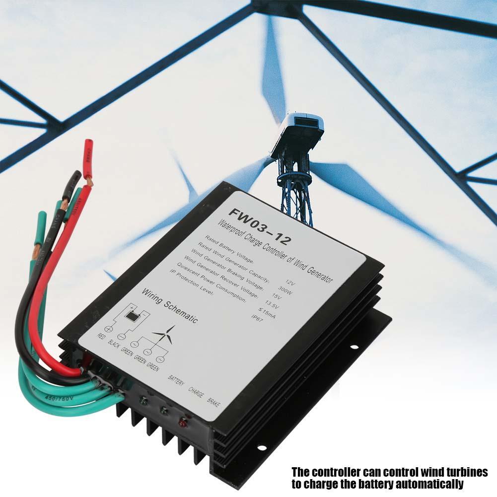 Controlador de carga eólica de 300w, 12V, controlador de generador solar, generador de viento a prueba de agua IP67