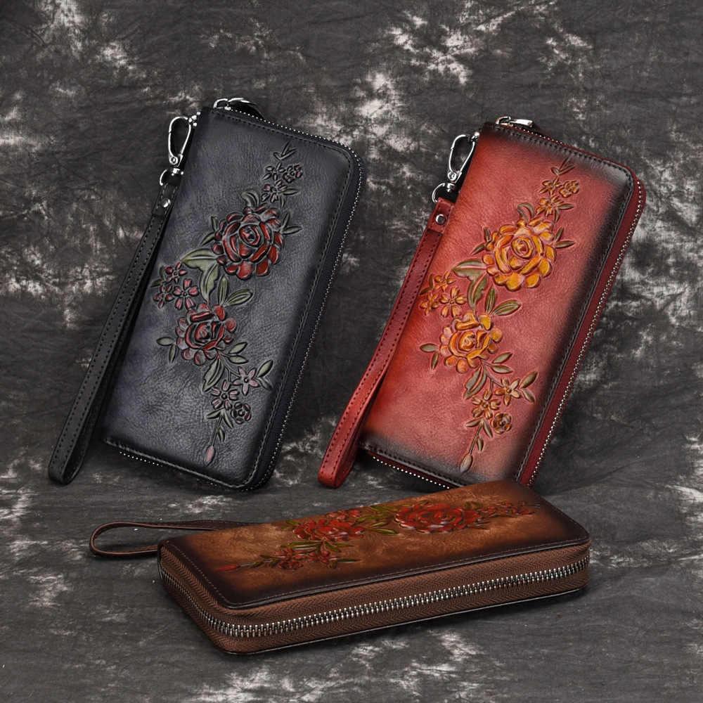 Женский Длинный кошелек из натуральной кожи, сумочка для денег, держатель для ID карт, Тисненый Цветочный узор, натуральная кожа, на молнии, клатч, наручные сумки, кошелек