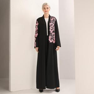 Image 2 - 우아한 이슬람 인쇄 abaya 맥시 드레스 카디건 스윙 긴 가운 가운 벨트 튜닉 중동 라마단 두바이 아랍 이슬람기도