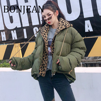 BONJEAN Leopard Patchwork Jacket 2018 Winter Coats and Outerwear Green Asymmetric Jacket for Women Fake Two Pieces Jacket BJ830