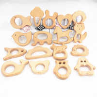 Chenkai 5pcs Wooden Teether DIY Organic Eco-friendly Nature Wood Baby Teething Pacifier Grasping Montessori Toy Accessories