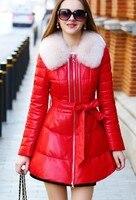 3XL овчины кожаная куртка натуральный Лисий мех воротник мода Slim Для женщин овчина Куртки Красивый Для женщин пальто новое поступление