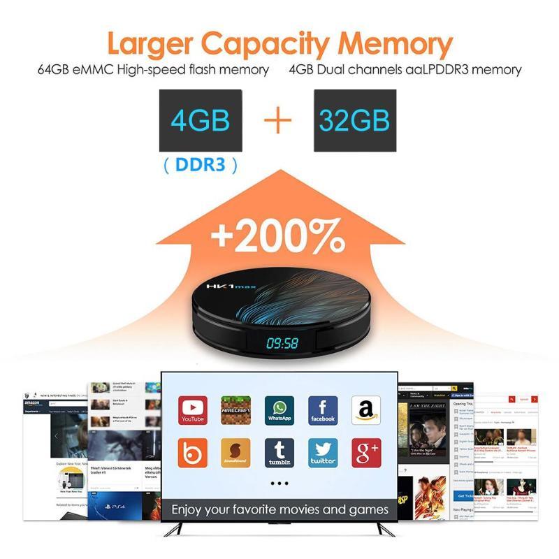 ТВ бокс HK1 MAX Android 9,0 4G + 32G RK3328 четырехъядерный WiFi 4 K 3D телеприставка ТВ приставка Android tv Box Smart tv Case IP tv Box
