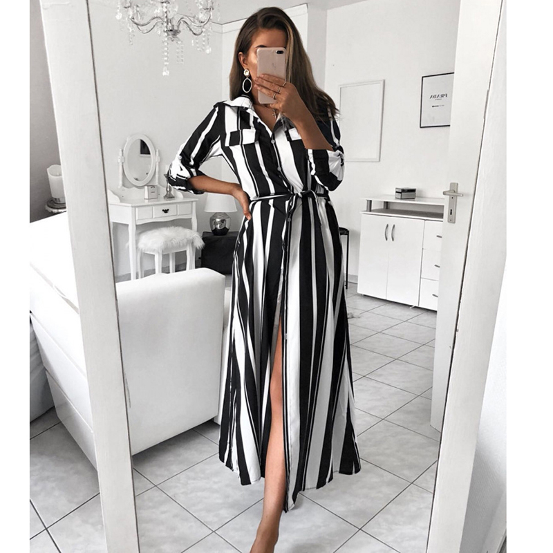 2018 New Style Women Boho Colourful Striped V Neck Ladies Party Black Long  Maxi Button T 4f0231ae2