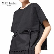 Max LuLu 2019 Luxury Brand Korea Gaya Tops Wanita Streetwear Wanita Patchwork Musim Panas T Shirt Katun Longgar Wanita Kawaii Tshirt