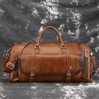 Genuine Leather Top Handle Business Bags Travel Retro Luxury Large Capacity Men Natural Skin Cross Body Shoulder Tote Handbag