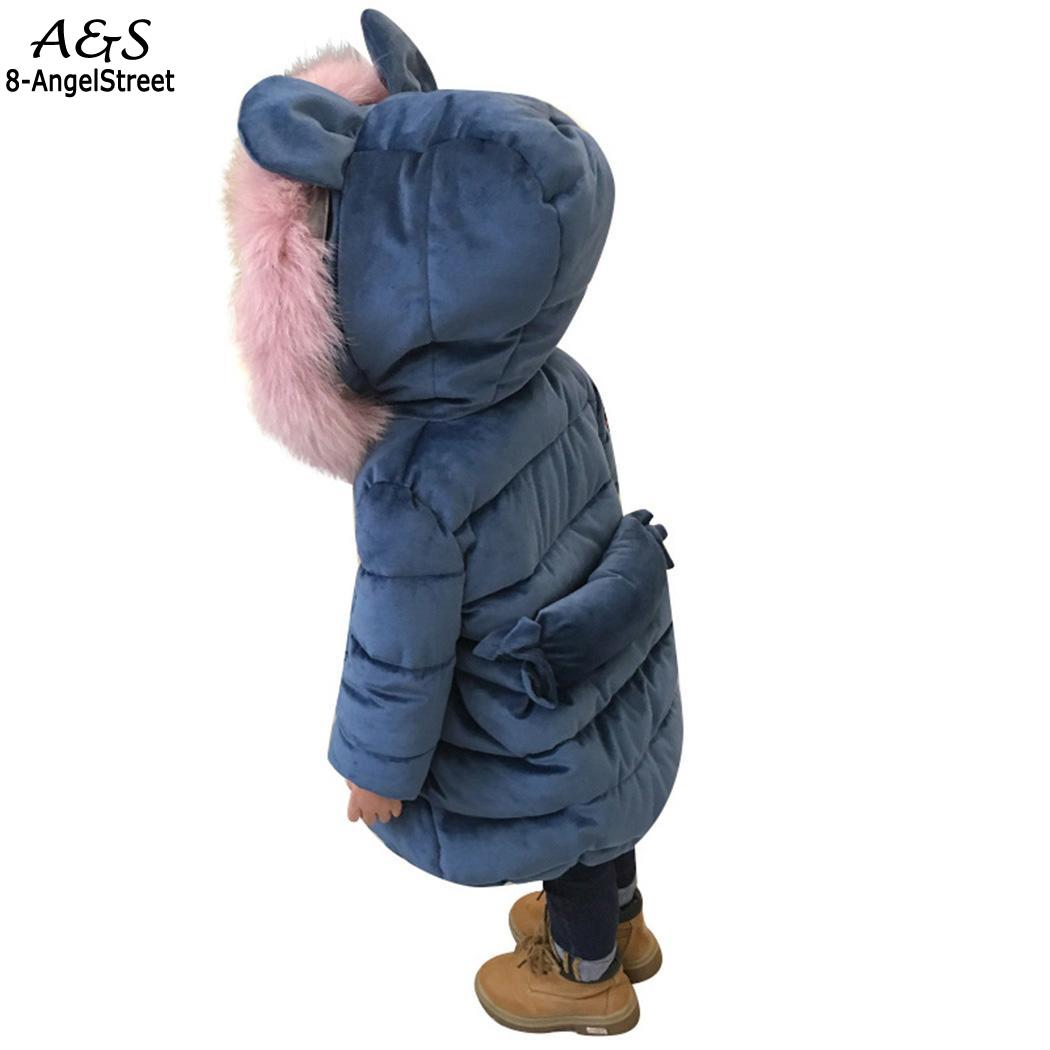 Cute Candy Lining Coat Thick Hooded Down Long Medium baby Warm girl kid Cotton Girls Winter Jacket clothes clothes Cotton 2017 new winter fashion women down jacket hooded thick super warm medium long female coat long sleeve slim big yards parkas nz18