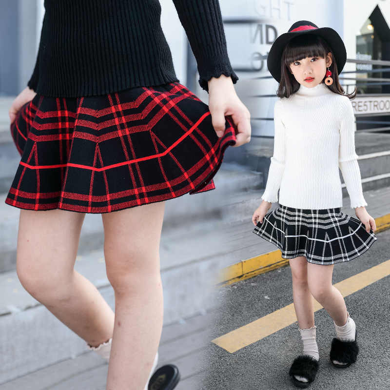 2018 girls plaid skirt children s pleated wear skirts girl knit skirt A  word skirt umbrella jupe 2ab15ef9982e