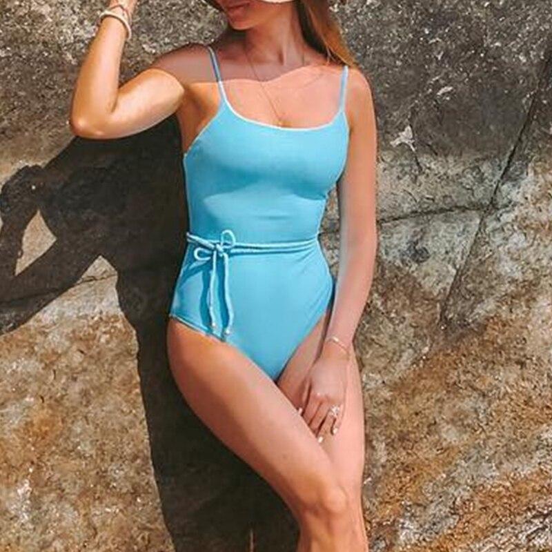 2020 Ribbed Yellow Bikinis Mujer Biquini Bandage String Bathing Suit Push Up Swimsuit Female Sexy Swimwear Women Monokini New