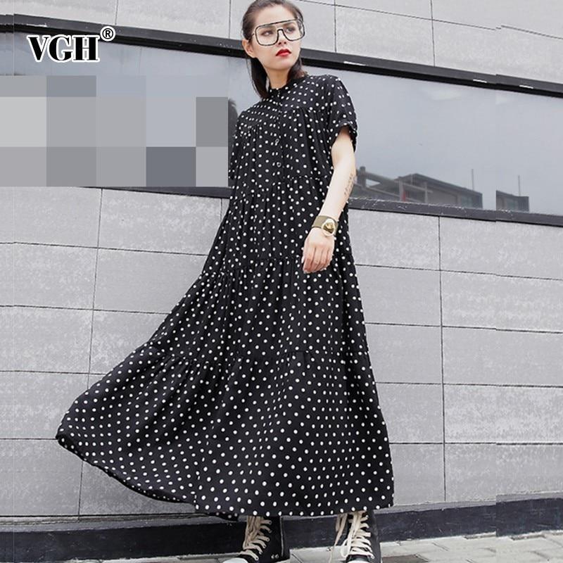 840c1417a VGH Polka Dot Vestido Para As Mulheres O Pescoço Curto Manga Solta Oversize  Preto Chiffon Vestidos de Moda Feminina Roupas Casuais Novo