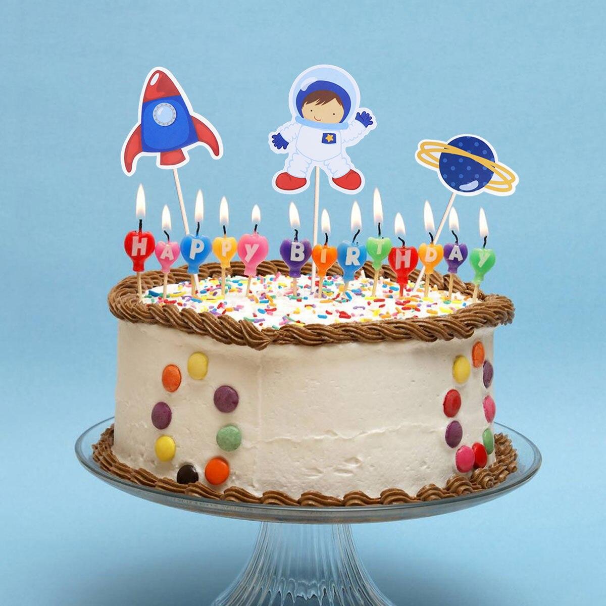 Brilliant 8Pcs Cake Toppers Astronaut Space Shuttle Ufo Series Birthday Personalised Birthday Cards Vishlily Jamesorg