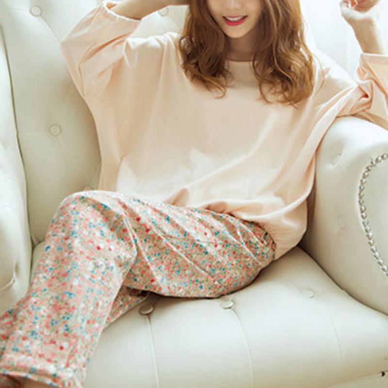 Korean Style Floral Long-Sleeved Milk Silk   Pajamas     Set   For Female Autumn And Winter Ladies Cute Sleepwear Household Clothing