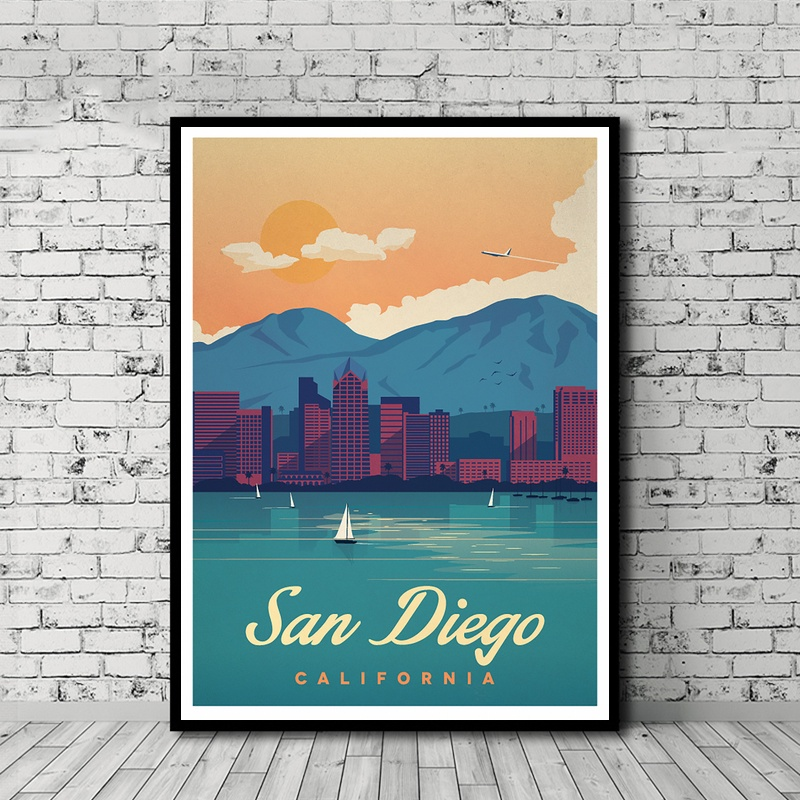 Home Decor Stores San Diego: Minimalist Travel Posters San Diego Poster Canvas Poster