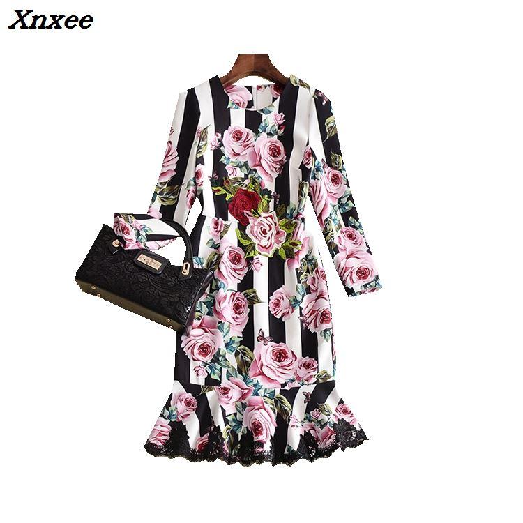 Women s dress wrist sleeve rose embroidery Striped printing mermaid dress slim temperament fashion party dresses