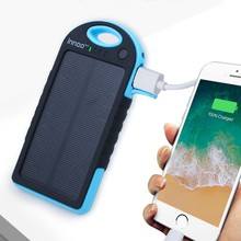 DCOO Solar Charger Power Outdoor Portable Waterproof Panels USB External Battery Pack with Flashlight