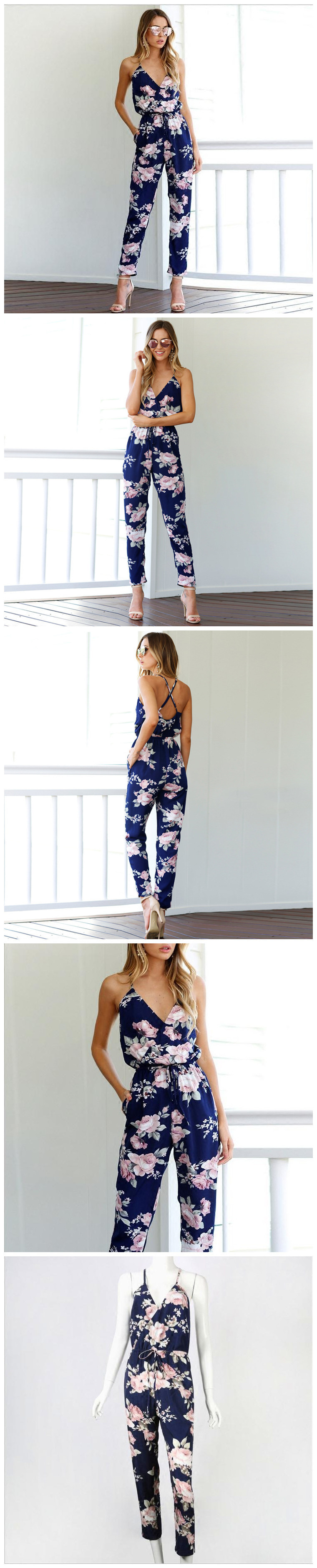 Jumpsuit women 39 s straps waist loose harem pants trousers floral holiday cross straps backless women 39 s clothing in Jumpsuits from Women 39 s Clothing