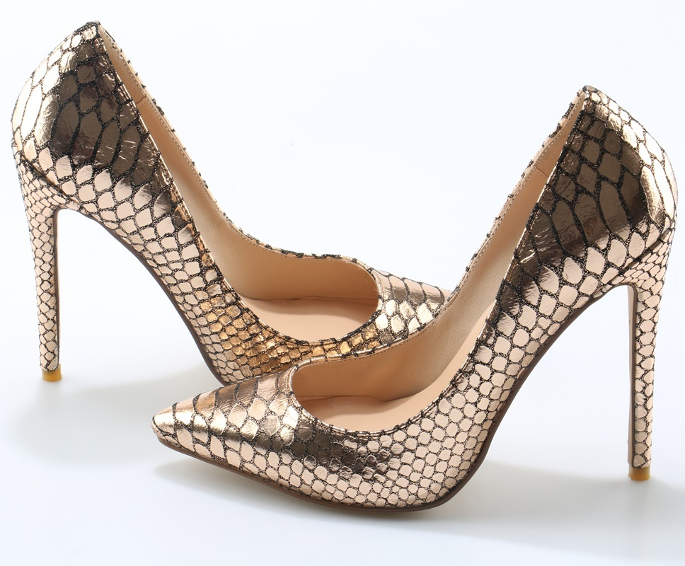 133c6cb2fa5 US $88.33 |Super Hot Gold Python Faux Leather Women Shallow High Heels Sexy  Pointy Toe Ladies Slip On Pumps Fashion Club Stiletto Size 41-in Women's ...