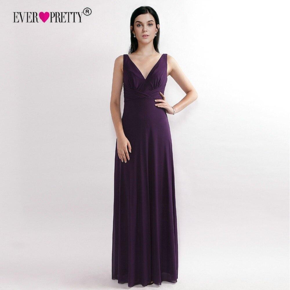 Vintage   Bridesmaid     Dresses   Long Ever Pretty Elegant A-Line Deep V-Neck Purple   Dresses   Wedding Party Gowns Vestido de Festa Longo